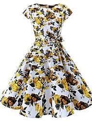 baratos -Mulheres Vintage Fofo Evasê Vestido - Estampado, Floral Altura dos Joelhos