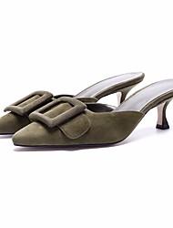 baratos -Mulheres Sapatos Pele Nobuck Primavera Verão Conforto Tamancos e Mules Salto Agulha para Azul Escuro Verde Tropa