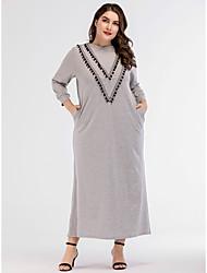 cheap -Women's Basic Boho Shift Abaya Dress - Solid Colored, Tassel