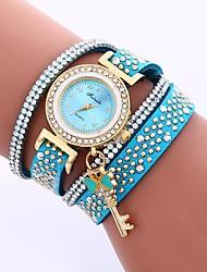 Недорогие -Жен. Модные часы Китайский Cool / Имитация Алмазный PU Группа На каждый день Черный / Белый / Синий