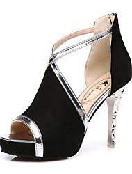 preiswerte -Damen Schuhe Kunstleder Frühling Sommer Modische Stiefel Neuheit Komfort Sandalen Stöckelabsatz für Party & Festivität Schwarz Gelb