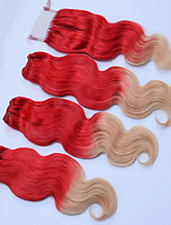 cheap -Brazilian Hair Wavy Ombre Hair Weaves / One Pack Solution / Human Hair Extensions 4 Bundles Human Hair Weaves Silky / Ombre Hair Human Hair Extensions Women's