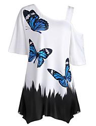 baratos -Mulheres Camiseta Básico Estampa Colorida Animal Borboleta Preto & Branco