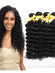 cheap -Malaysian Hair / Deep Wave Curly / Deep Wave Virgin Human Hair Natural Color Hair Weaves / Extension / One Pack Solution 4 Bundles Human
