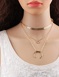 cheap -Layered Layered Necklace - Drop, Moon Korean, Multi Layer Gold, Silver 32.5+6 cm Necklace Jewelry For School, Street