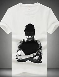 Недорогие -Муж. С принтом Футболка Шинуазери (китайский стиль) Портрет