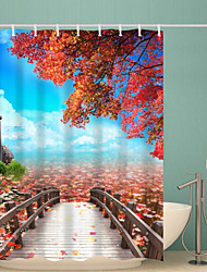 abordables -Rideaux de douche et anneaux Rustique Polyester Nouveauté Fabrication à la machine Imperméable Salle de Bain