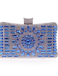 abordables -Mujer Bolsos Poliéster Bolso de Noche Detalles de Cristal Champaña / Plateado / Azul Real