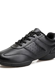 abordables -Mujer Zapatillas de Baile PU microfibra sintético Zapatilla Tacón Bajo Personalizables Zapatos de baile Blanco / Negro