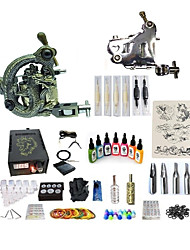 abordables -Machine à tatouer Kit pour débutant 1 x Machine à tatouer en acier pour le traçage et l'ombrage 1 x sculpté machine à tatouer pour la