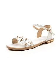 cheap -Women's Shoes Leatherette / Cowhide Spring / Summer Comfort / Gladiator Sandals Flat Heel Open Toe Rivet / Buckle White / Black / Beige
