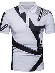 baratos -Homens Polo Moda de Rua Geométrica Estampa Colorida Preto & Branco