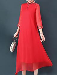 baratos -Mulheres Tamanhos Grandes Para Noite Feriado Solto balanço Vestido - Estampado, Geométrica Médio