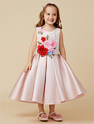 cheap -Ball Gown Knee Length Flower Girl Dress - Satin Sleeveless Jewel Neck with Lace Flower by LAN TING BRIDE®