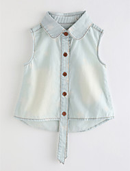 cheap -Girls' Solid Colored Blouse, Cotton Summer Blue