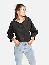 cheap -Women's Going out Basic Cotton Loose Shirt - Solid Colored Deep U
