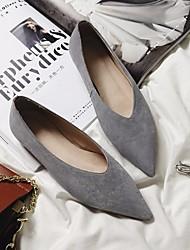 povoljno -Žene Cipele Koža Proljeće Jesen Udobne cipele Ravne cipele Niska potpetica za Kauzalni Crn Sive boje Crvena