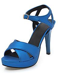 preiswerte -Damen Schuhe PU Frühling / Sommer Komfort / Neuheit Sandalen Stöckelabsatz Peep Toe Schnalle Silber / Grün / Blau / Party & Festivität