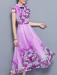 Недорогие -Жен. Очаровательный Шинуазери (китайский стиль) С летящей юбкой Платье - Однотонный Средней длины