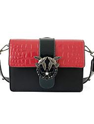 preiswerte -Damen Taschen PU-Leder Umhängetasche Knöpfe Rote / Rosa / Gelb