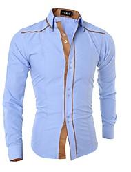 Недорогие -Муж. Рубашка Классический Однотонный / Длинный рукав