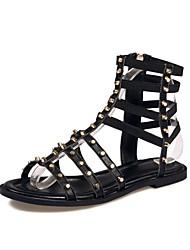 cheap -Women's Shoes Customized Materials Summer Comfort Sandals Flat Heel Open Toe Black / Party & Evening