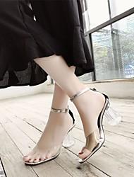 Недорогие -Жен. Обувь КожаПВХ Лето Удобная обувь / Туфли лодочки Сандалии На толстом каблуке Прозрачный