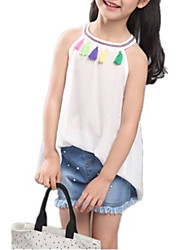 cheap -Girls' Going out Holiday Solid Clothing Set, Cotton Linen Summer Long Sleeves Cute Active White