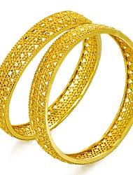 Недорогие -Браслет цельное кольцо - Этнический Браслеты Золотой Назначение День рождения Подарок / 2pcs