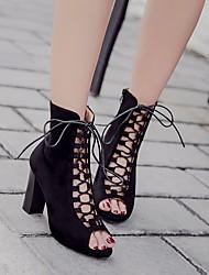 baratos -Mulheres Sapatos Pele Nobuck Primavera Outono Botas da Moda Botas Salto Robusto Botas Curtas / Ankle para Casual Preto Cinzento