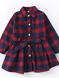 abordables -Robe Fille de Quotidien Vacances Tartan Coton Polyester Printemps Automne Manches Longues Mignon Actif Vert Rouge