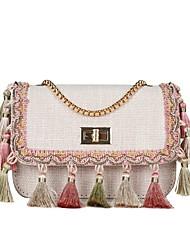 cheap -Women's Bags Cloth Shoulder Bag Zipper / Tassel Black / Beige