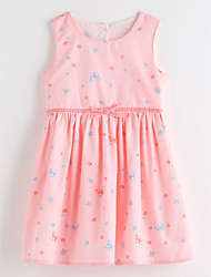 cheap -Girl's Daily Floral Dress Summer Sleeveless Cute Basic Blushing Pink