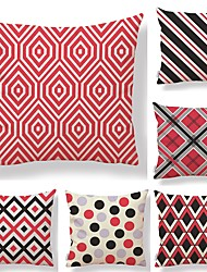 cheap -6 pcs Textile Cotton / Linen Pillow case Pillow Cover, Lines / Waves Spots & Checks Printing Artistic Style Geometric