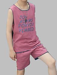 cheap -Boys' Daily Sports Print Clothing Set, Cotton Spring Summer Sleeveless Active Blue Lavender