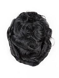 Недорогие -Муж. Натуральные волосы Накладки для мужчин Волнистый 100% ручная работа / Мужское плетение