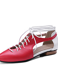 cheap -Women's Shoes Leatherette Spring / Summer Comfort / Gladiator Flats Flat Heel Pointed Toe Beige / Red / Pink