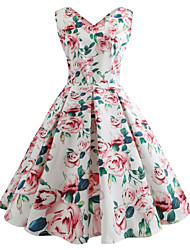 cheap -Women's Sophisticated Street chic Swing Dress - Floral
