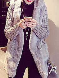 abordables -Manteau en Fourrure Grandes Tailles Femme - Couleur Pleine Mignon Actif Punk & Gothique