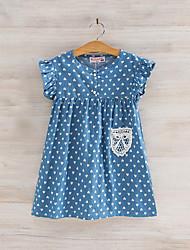 baratos -Menina de Vestido Diário Estampado Retalhos Verão Raiom Sem Manga Fofo Azul