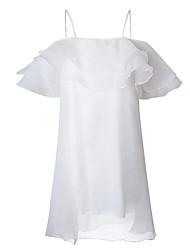 baratos -Mulheres Simples Chifon Vestido Sólido Acima do Joelho