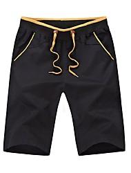 abordables -Hombre Deportivo Baja cintura Algodón Delgado Shorts Pantalones - Un Color