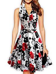 baratos -Mulheres Moda de Rua Bainha Vestido Floral Altura dos Joelhos