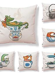 baratos -6 pçs Téxtil Algodão / Linho Fronha Cobertura de Almofada, Estampado Inovador Animais Desenho