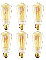 Недорогие -6 шт. Колбас эдисона, 40 Вт st64 лампа накаливания, янтарь теплый, 2200k, e26 / e27 средняя основа античная лампа накаливания