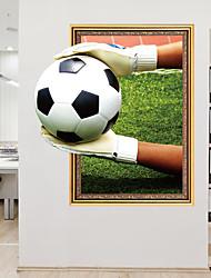 Недорогие -Наклейка на стену Декоративные наклейки на стены - Простые наклейки Футбол 3D Положение регулируется Съемная