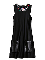 cheap -Women's Vintage T Shirt Dress - Color Block