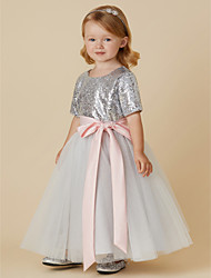 cheap -A-Line Ankle Length Flower Girl Dress - Tulle Sequined Short Sleeves Jewel Neck with Sequin Bow(s) Sash / Ribbon by LAN TING BRIDE®