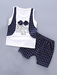 cheap -Boys' Daily Holiday Striped Clothing Set, Cotton Acrylic Spring Summer Sleeveless Cute Active Navy Blue