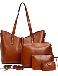 baratos -Mulheres Bolsas PU Conjuntos de saco Conjunto de bolsa de 4 pcs Ziper Azul / Preto / Marron